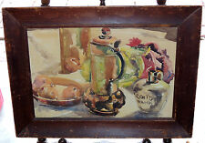 Beautiful Antique Mystery Watercolor Painting of Still Life Signed Arnold