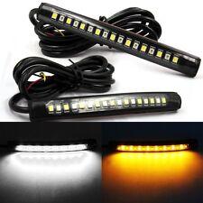 2x Flexible 17 LED Strip Amber White Light Turn Signal Indicator Car Motorcycle
