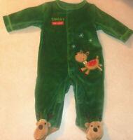 Carter's Infant Baby Reindeer Sleeper Santas Little Helper Christmas Green