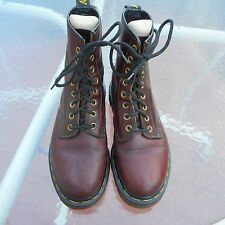 VTG DR MARTENS WOMENS BOOTS UK3-US5 BROWN LEATHER #1460 ENGLAND AIR WAIR 8 EYE