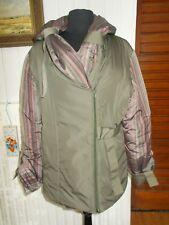 Manteau veste doudoune 54% soie kaki rayé rose MULTIPLES T.2 40/42 capuche