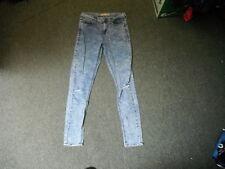 "Top Shop Moto Skinny Jeans Waist 30"" Leg 32"" Faded Bleached Blue Ladies Jeans"