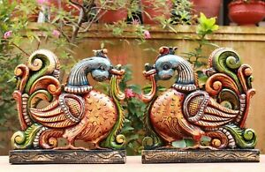Peacock Statue Pair Wall Hanging Sculpture Wooden Vintage Home Decor Wall Art