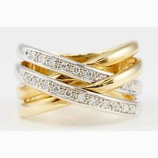 14k Two-Tone Yellow & White Gold Criss Cross Overlap 4 Bands Round Diamond Ring