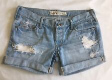 HOLLISTER Destroyed Demin Jean Shorts Size 1 Cuffed Light Wash Button Fly