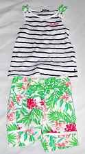 Nautica Size 5 Toddler Girl 2pc Tropical Striped Tank Short Set