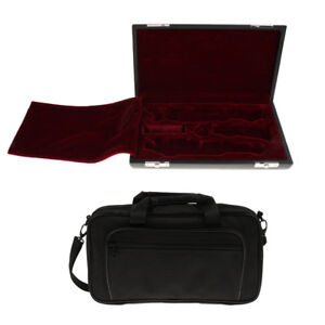 Exquisite Black Oboe Carry Shoulder Bag + Wooden Case Container for Oboist