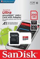 SanDisk 200GB microSDXC 100MB/s Ultra 200G micro SD SDXC A1 Class 10 UHS-1 Card
