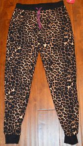 Women's Tarea Rue 21 Tan Leopard Slip On Cuffed Lounge Sleep Pants Sizes XS-XL