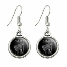 Novelty Dangling Drop Charm Earrings Carved Firefighter American Flag Axe