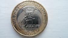 RARA moneta da £ 2 LB (ca. 0.91 kg) 2014 100th anniversario prima guerra mondiale 1914-1918 circolato