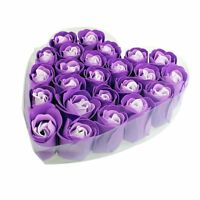 24 Pcs Purple Scented Bath Soap Rose Petal in Heart Box S9