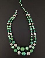 Vintage Multi Strand Lucite Green & Silver Foil Bead Necklace Japan