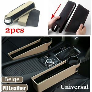 2PC Car Seat Leather Storage Box Console Side Pocket Coin Organizer Cup Holder