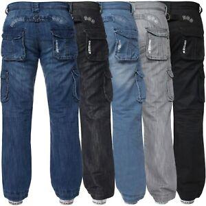 Mens Cargo Combat Jeans Enzo Designer Denim Casual Work Pants All Waist Sizes