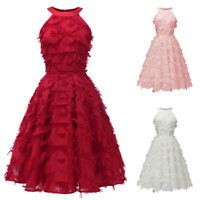 Vintage Bridesmaid Women Midi Dress Evening Prom Ball Gown Party Formal Dresses
