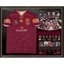 STATE OF ORIGIN QUEENSLAND MAROON MACHINE SIGNED AND FRAMED 2016 JERSEY THURSTON