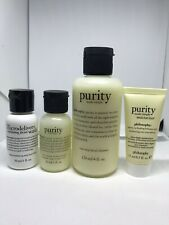 Philosophy Purity Travel Kit Cleanser Exfoliator Moisturizer With Travel Bag