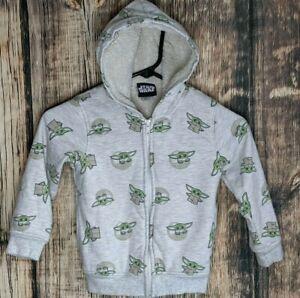 Star Wars Baby Yoda Hoodie Jacket  5T Child All Over Print Fleece Line Full Zip