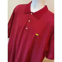 Augusta National Golf Shop Mens Masters Dark Red Striped Pima Polo Shirt Size XL