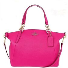 NWT Coach Kelsey Satchel in Pebble Leather 36675 Imitation Gold/Pink Ruby