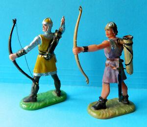 Vintage original Preiser Elastolin 70mm painted plastic Medieval archer knights