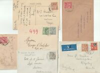 1920/37 6 x VALLETTA MALTA COVERS (1 HAS LETTER) DIFF STAMPS AND POSTAGE RATES