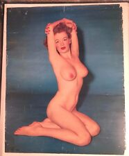 Vintage Rare 1940s Pin up Calendar Top NUDE YOUNG LADY Risque Art Photo Poster
