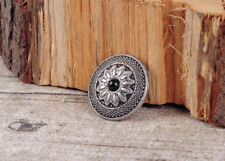 "10PC 1"" RETRO SLIVER FLORAL WESTERN TANDY LEATHER CRAFT WALLET CONCHOS SCREWBACK"