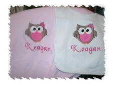 Owl Personalized Baby Toddler Blanket Cute Girl Owl Bib & Blanket Set Any Color