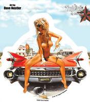 Cadillac Convertible decal Sexy topless Sticker Biker Artist Dave Nestler 5.25x5