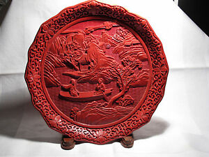 """Large 9.5"""" Vintage/Antique Chinese Carved Cinnabar Lacquer Plate Romantic - EX++"""