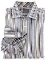 Thomas Dean Dress Shirt Large Mens Long Sleeve Striped Button Down Flip Cuffs Sz
