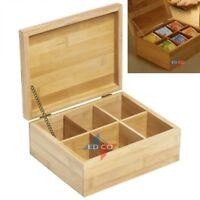 Wooden 6 Compartment Tea Box Bag Caddy Box Organizer Storage 100% Bamboo LARGE