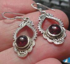 Superb Sterling Silver & Garnet Dangley Drop Ear Rings 4.3g