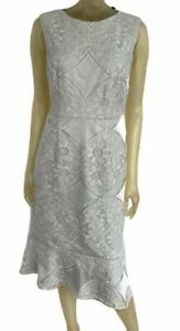 Phase Eight Jemime Lace Dress Size UK 14 Silver Bodycon Midi Flattering RRP £150