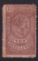 VICTORIA RARE 1878 10/- Red Brown QV STAMP STATUTE SG 219 CV$750+ (KI168)