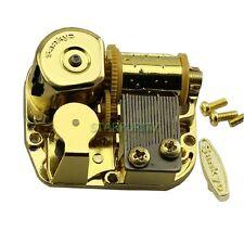 "Sankyo Gold Windup DIY Music Box Movement Key Screws Play ""Grandfather's Clock"""
