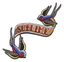 SUBLIME swallow birds/banner EMBROIDERED IRON-ON PATCH  **FREE SHIPPING** -p4088