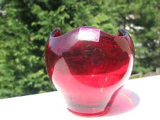 Vintage Viking Hand-Made Red Cranberry Glass  Vase