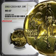Czech Republic Brass 2002 20 Korun NGC MS67 TOP GRADED BY NGC KM# 5