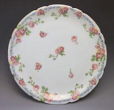 Antique JPL Pouyat Limoges Cabinet Plate France Pink Roses Blue Porcelain China