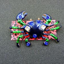 Johnson Charm Woman Brooch Pin Gift Blue Enamel Rhinestone Cute Crab Betsey