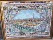 AUTHENTIC PERSIAN FINE TABRIZ WALL HANGING MOSQUE MEDINA WITH KORAN SCRIPTS