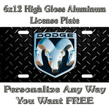 Diamond Plate Dodge Ram Sign Custom Black License Plate Auto Car Tag Personal