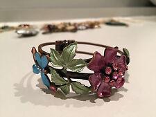 Copper/enamel flower bracelet