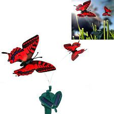 Twin Solar Butterfly Red Swallowtail Flying Fluttering Powered Sun or AA Battery