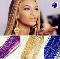 Women Girl Shimmer Glitter shine Straight highlight Hair Extension Piece Wigs