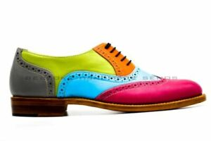 Handmade Women's Genuine Leather Seven Tone Lace Up Oxford Brogue Wingtip Shoes