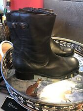 LADIES CLARKS BLACK LEATHER WEDGE ANKLE BOOTS SIZE UK 6